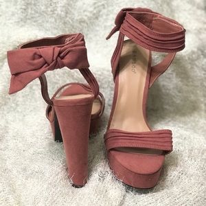 Rose-Blush Faux Suede Platform Heels